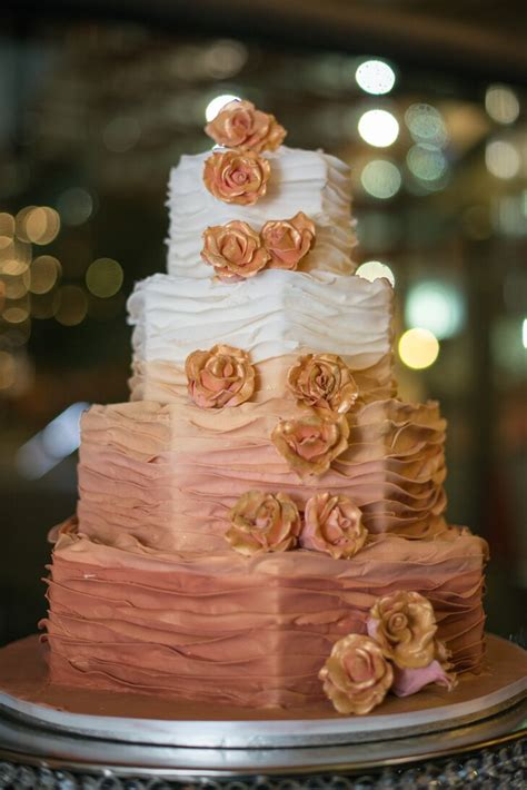 Four-Tier Wedding Cake in Ombre Rose Gold