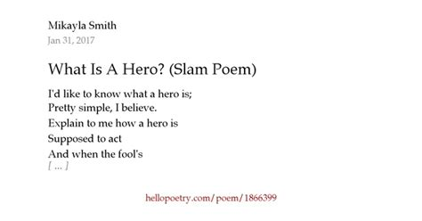 What Is A Hero? (Slam Poem) by Mikayla Smith - Hello Poetry