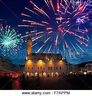 Fireworks over City Hall, New Year's Eve, Vienna, Austria