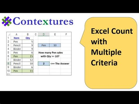 Excel COUNTIFS Count With Multiple Criteria - YouTube