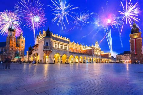New Years Firework Display In Gdansk Stock Photo - Image