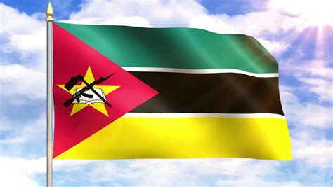 Flag Of Mozambique Sky Background Stock Footage Video