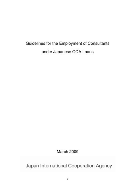 Guidelines for the Employment of Consultants under
