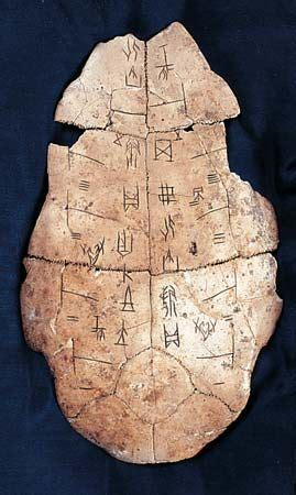 Shang Dynasty: tortoise shell with Chinese writing -- Kids